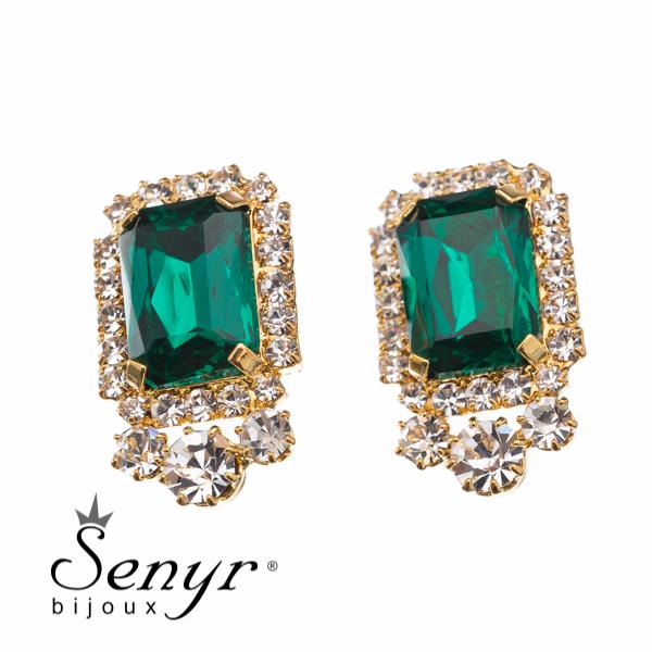 Náušnice Golden Majesty Emerald