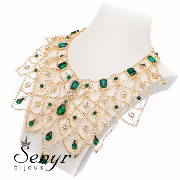 Luxusní náhrdelník Golden Majesty Emerald