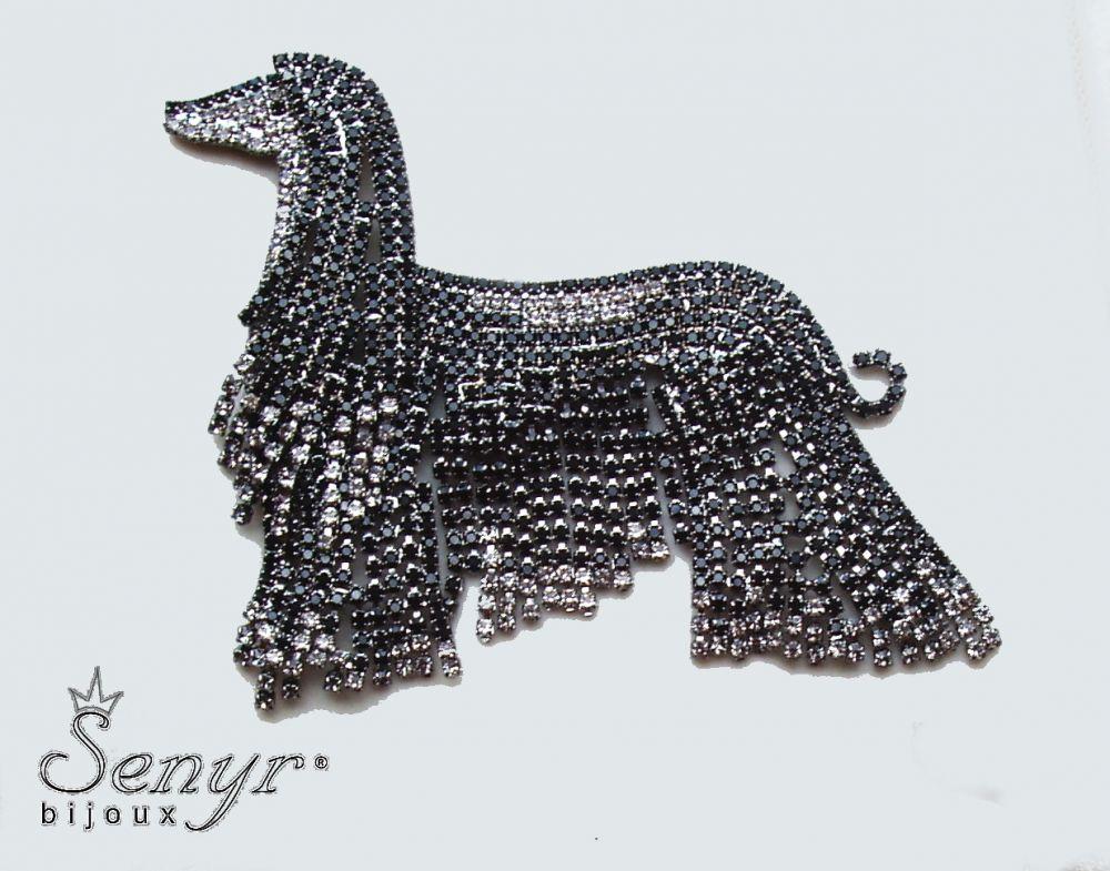 Afghan hound brooch