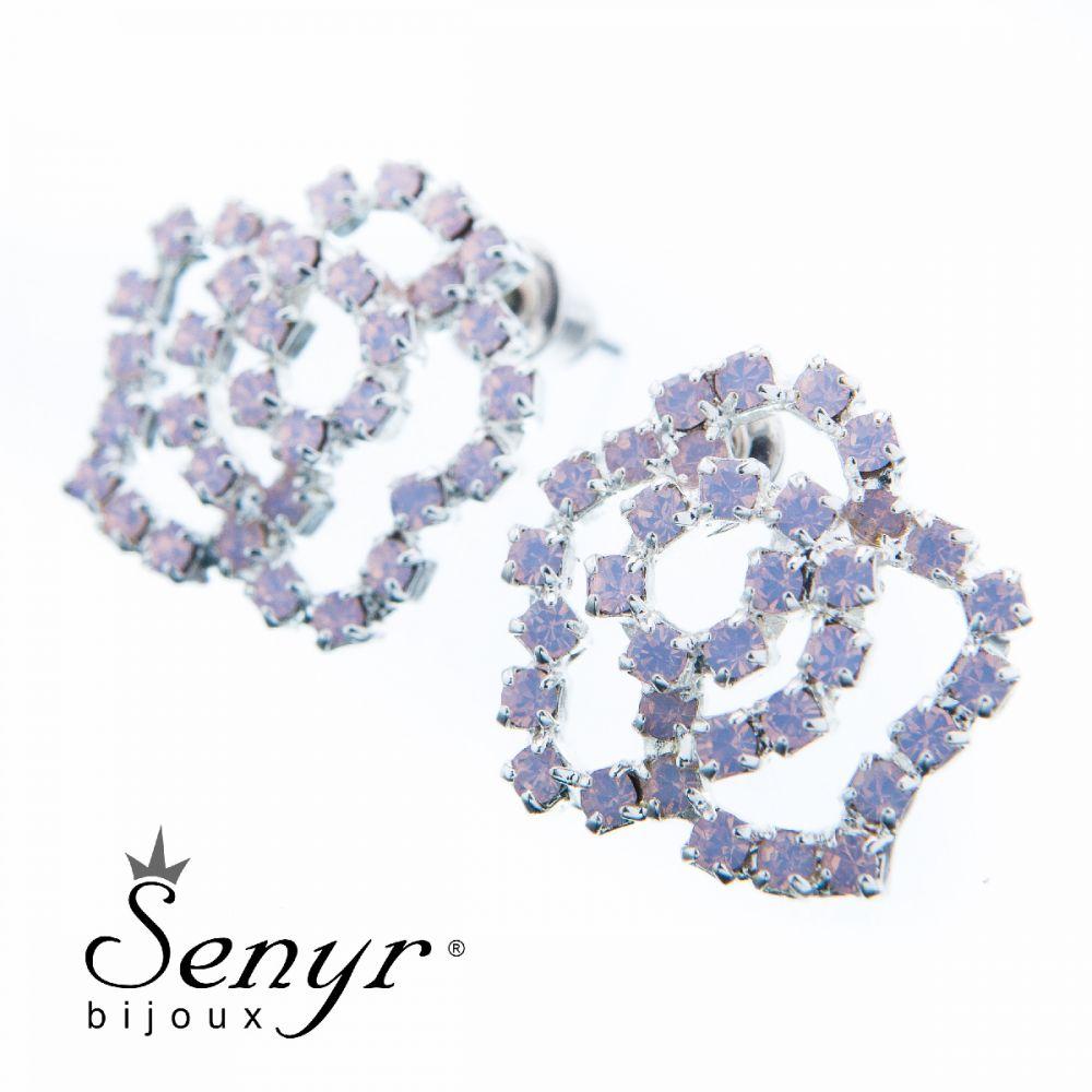 Earrings Small Rose Rose Opal Silver