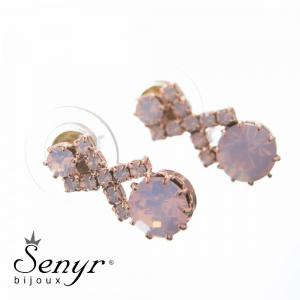 Earrings Crossed Verse Rose Opal